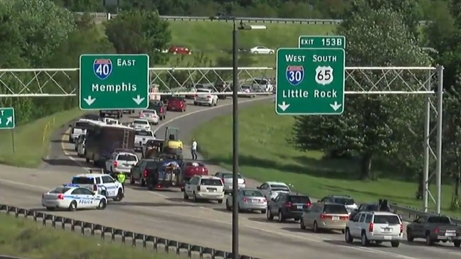 I-40 eastbound at I-30 merge shut down for a time after