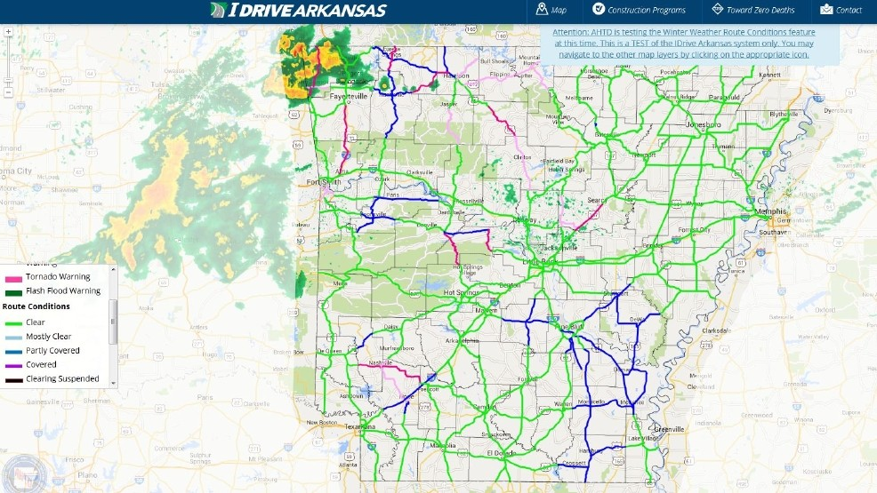Arkansas highway officials plan test for winter weather map | KATV